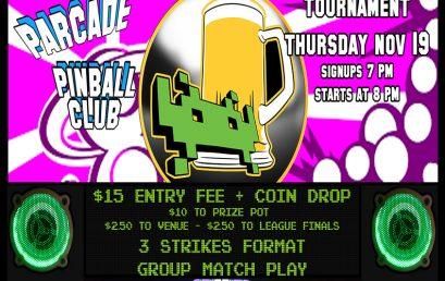 Pinball Tournament – 11/19/20 – 7 PM